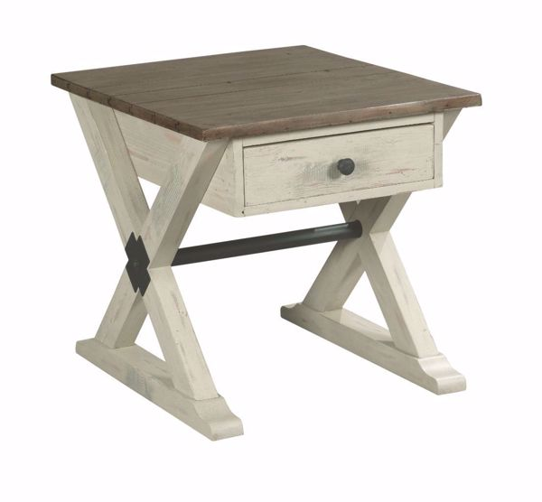 Picture of Reclamation Place Trestle Drawer End Table White